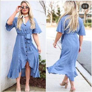 BLUE BUTTON HIGH LOW RUFFLE DRESS